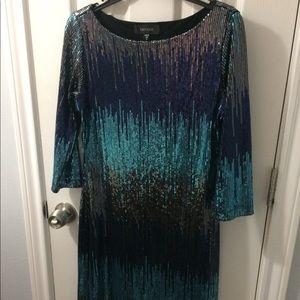 Karen Kane Multi turquoise ombré beaded dress